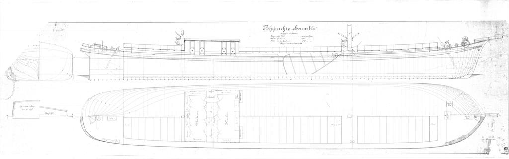 Originele lijntekening Rhijnschip