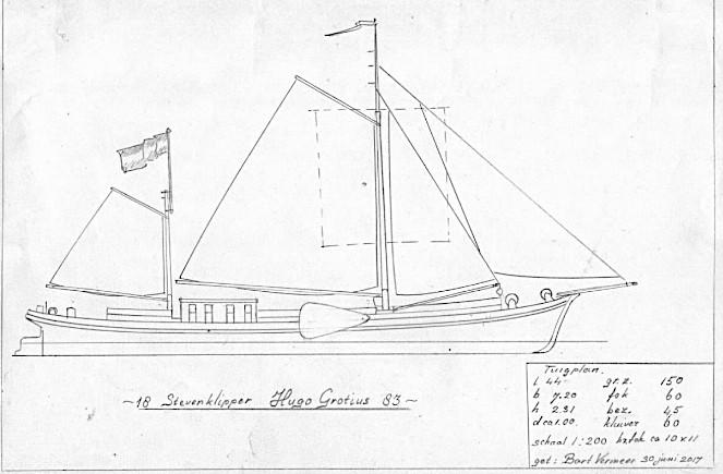 De geschiedenis van de stevenklipper Hugo Grotius, het grootste Nederlandse zeilende binnenschip dat ooit is gebouwd.
